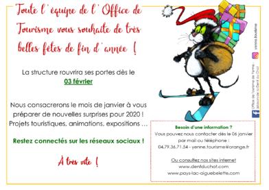 Janvier : fermeture annuelle de l'Office de Tourisme de Yenne - Maison de la Dent du Chat